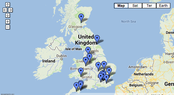 False Widow Spider UK Sighting Map 2013